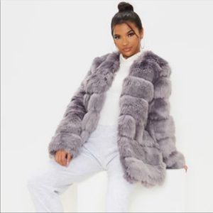 PrettyLittleThing Faux Fur Grey Bubble Coat NEW